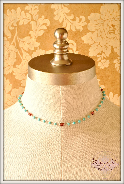 Ciel et Soleil Garnet and Turquoise Necklace1