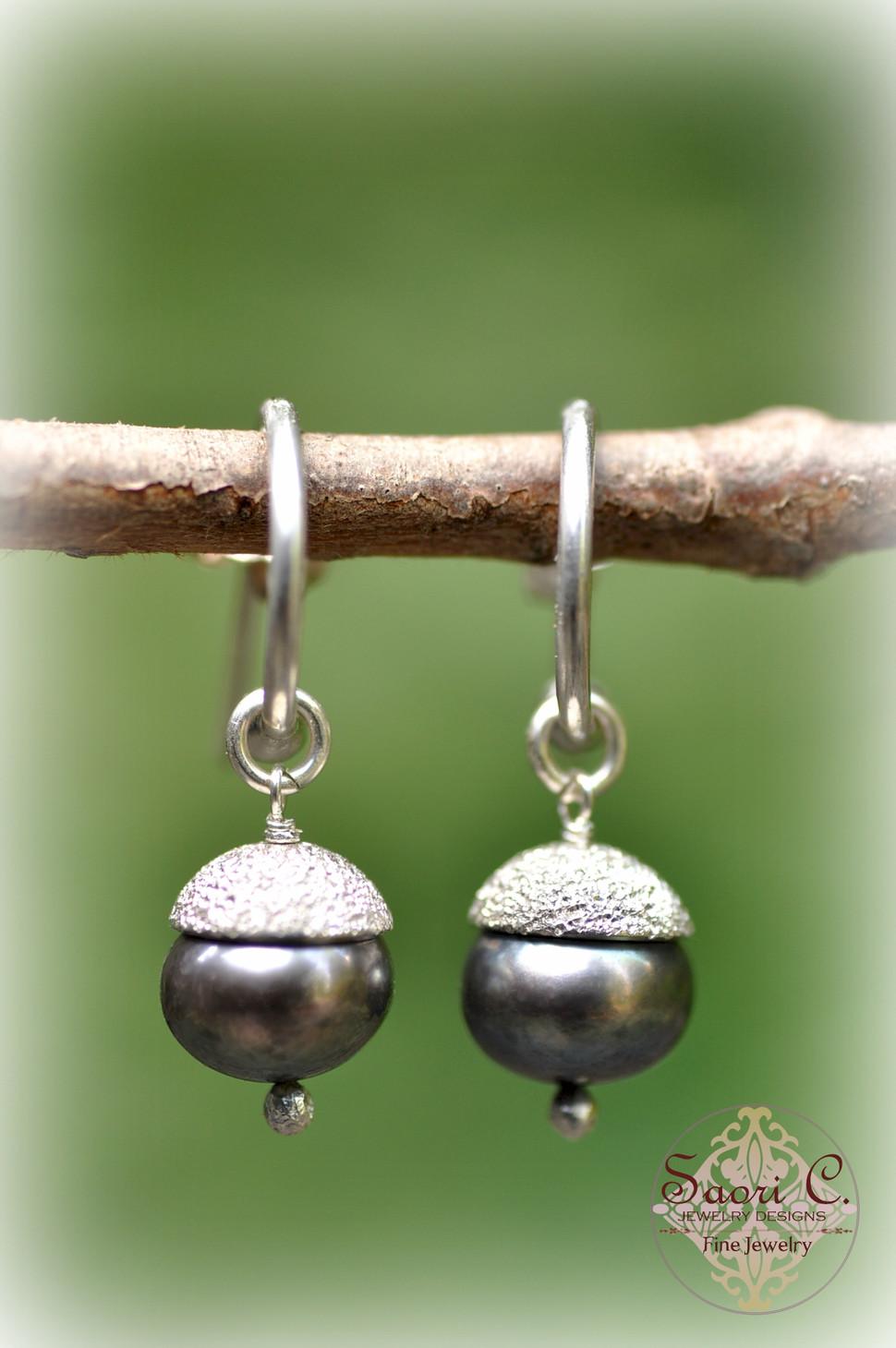 Bon Bon Black Pearl Hoop Earrings
