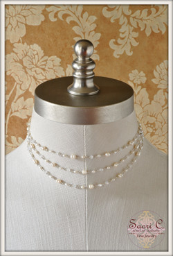 Lustre Pearl and Moonstone Necklace