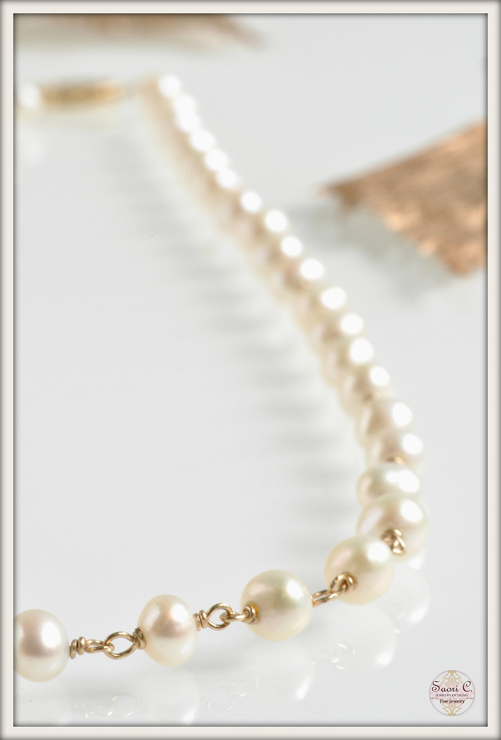 Classic White Pearl and 14 K Gold Necklace