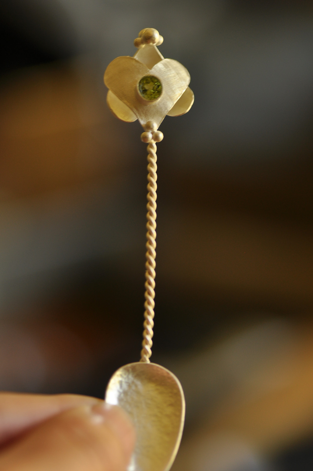 Sterling Silver Baby Spoon with Faceted Peridot