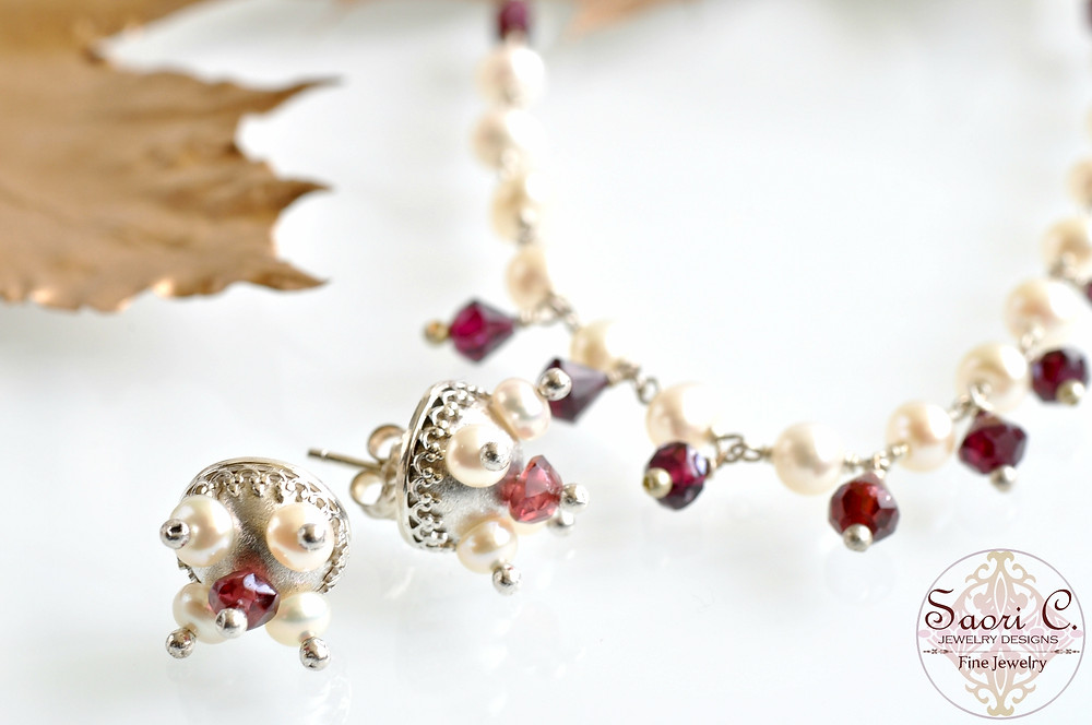 Garnet and White Pearl Jewelry for Valentine's Day