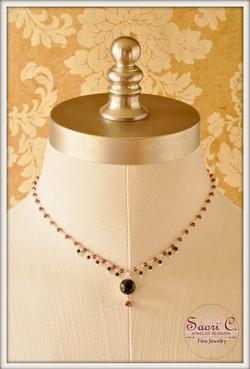 Vision garnet & black onyx necklace1