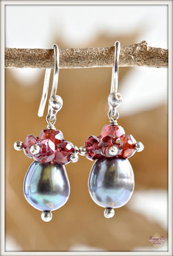 Blossom Black Pearl and Garnet Earrings