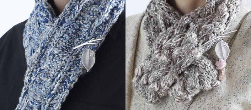 ブローチ感覚でお洒落に桜かんざし:そっと 左:つまみ細工なし 右:つまみ細工あり