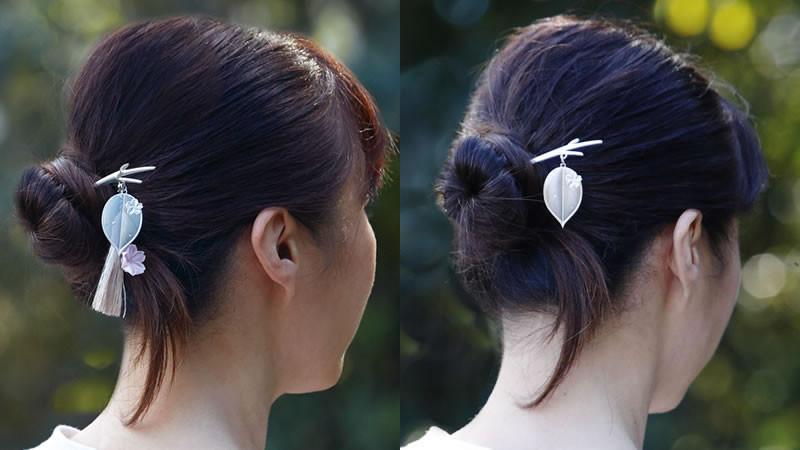 優しく風に揺れる桜かんざし:そっと 左:つまみ細工あり 右:つまみ細工なし