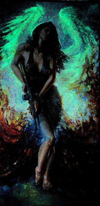 Tommy Glow in the Dark Oil Painting by Colleen Black