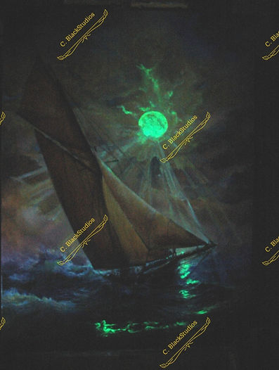 Brand New Horizon - Glow in the Dark Oil Painting by Colleen Black