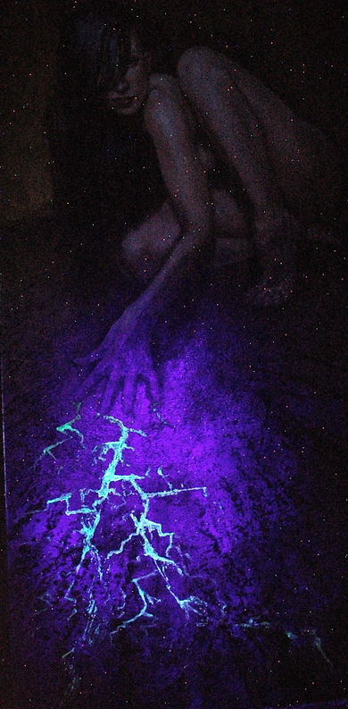 Cornered Glow in the Dark Oil Painting by Colleen Black