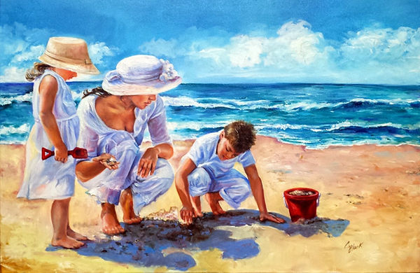 Beachcombers Oil Painting by Colleen Black