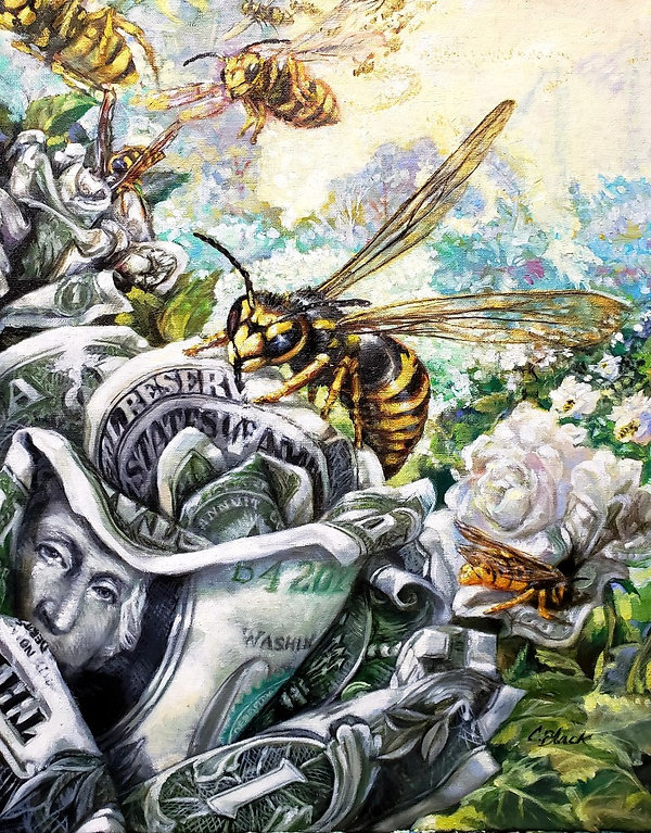 Yellow Jacket Oil Painting by Colleen Black