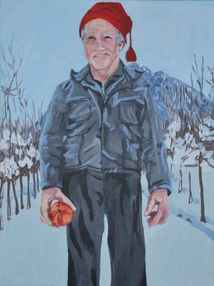 Bauer mit Apfel