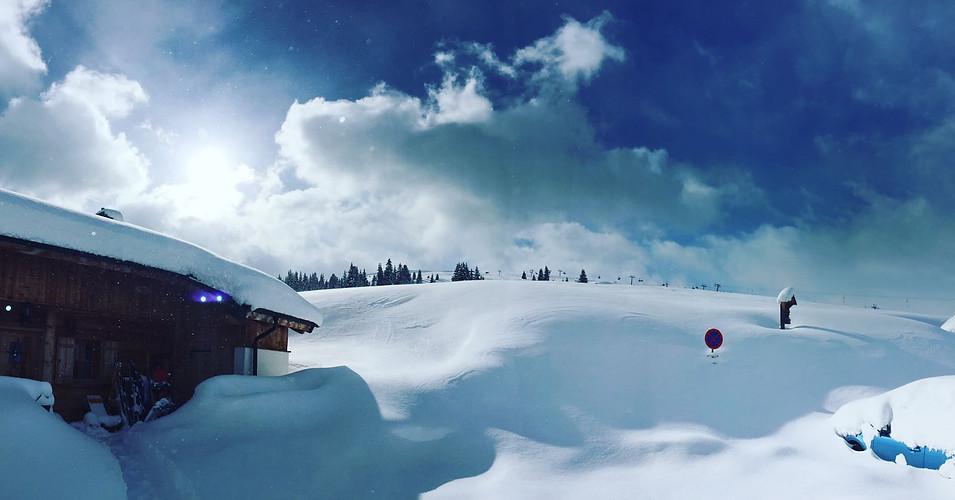 Tief verschneite Landschaft