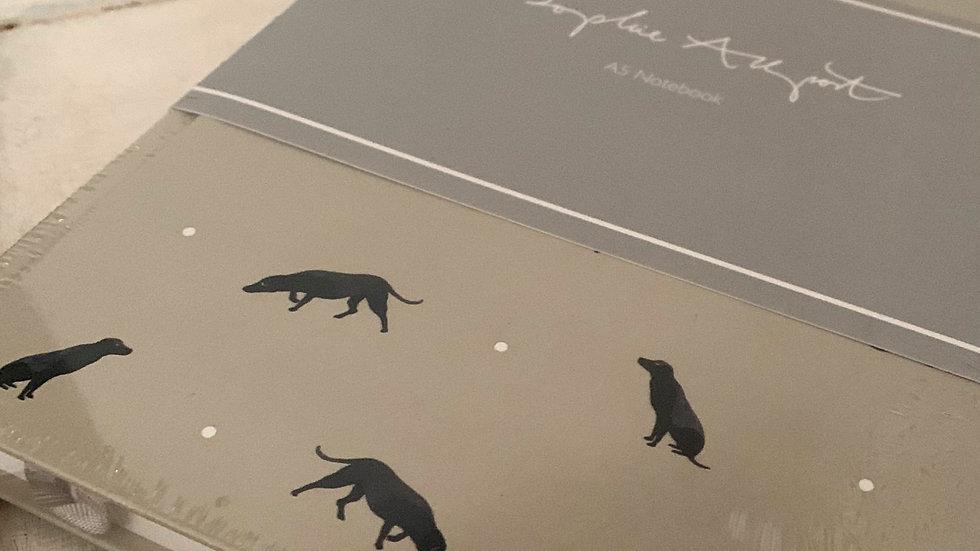 Sophie Allport 'Sit' black labrador A5 notebook