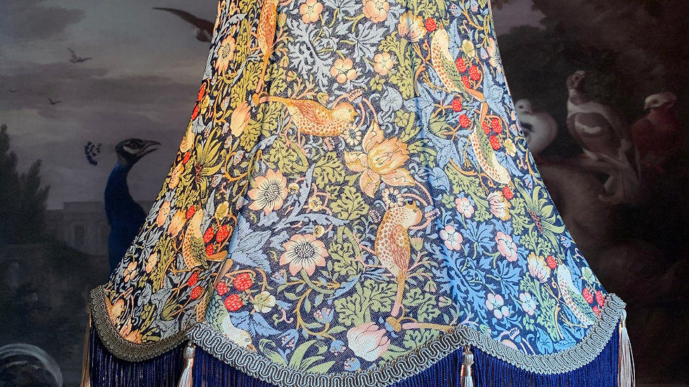"William Morris 'Strawberry Thief' navy blue large 18"" fringed lampshade"