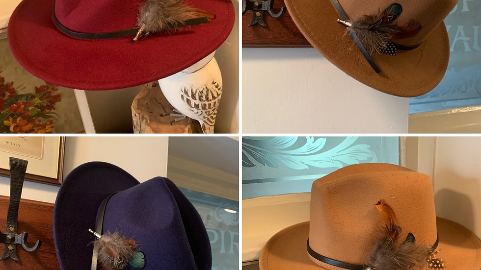 Ladies fedora hat with removable pheasant feather pin