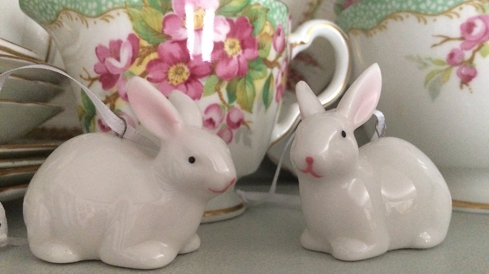 PAIR of ceramic white rabbit/bunny Easter decorations