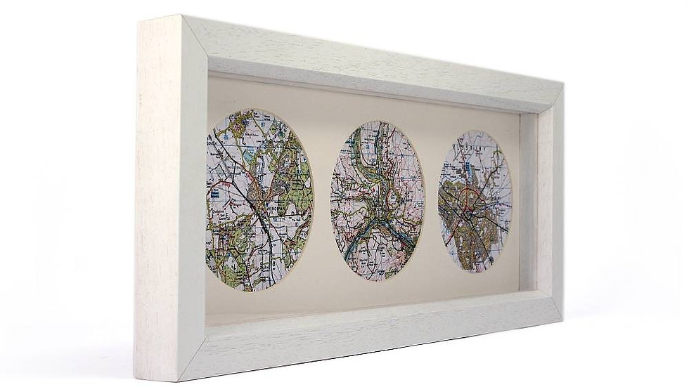 Personalised THREE framed map wall art picture