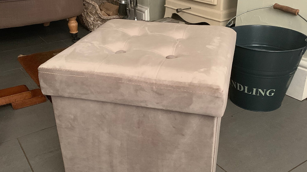 Brissi  'Victoria' taupe velvet box stool/ottoman/chair/footstool