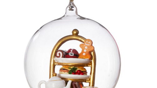 Festive/Christmas afternoon tea glass dome bauble tree ornament