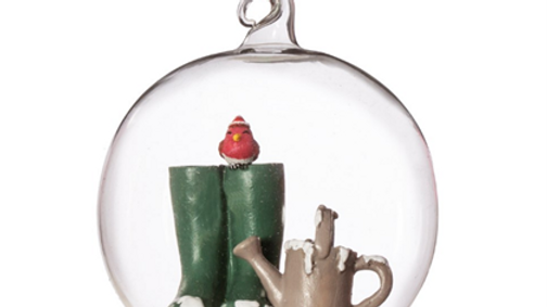 Gardeners glass dome bauble tree ornament