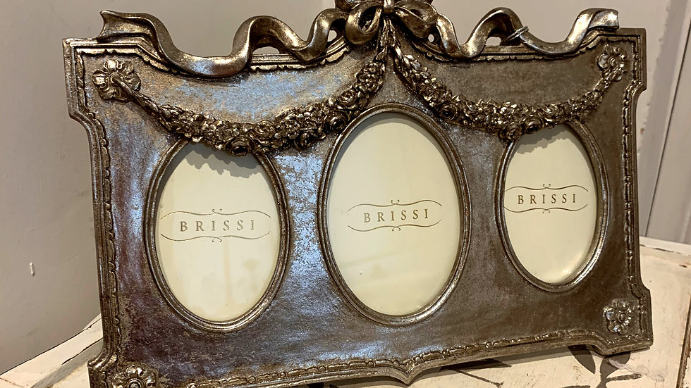 BRISSI gold/pewter antique style triple photo frame