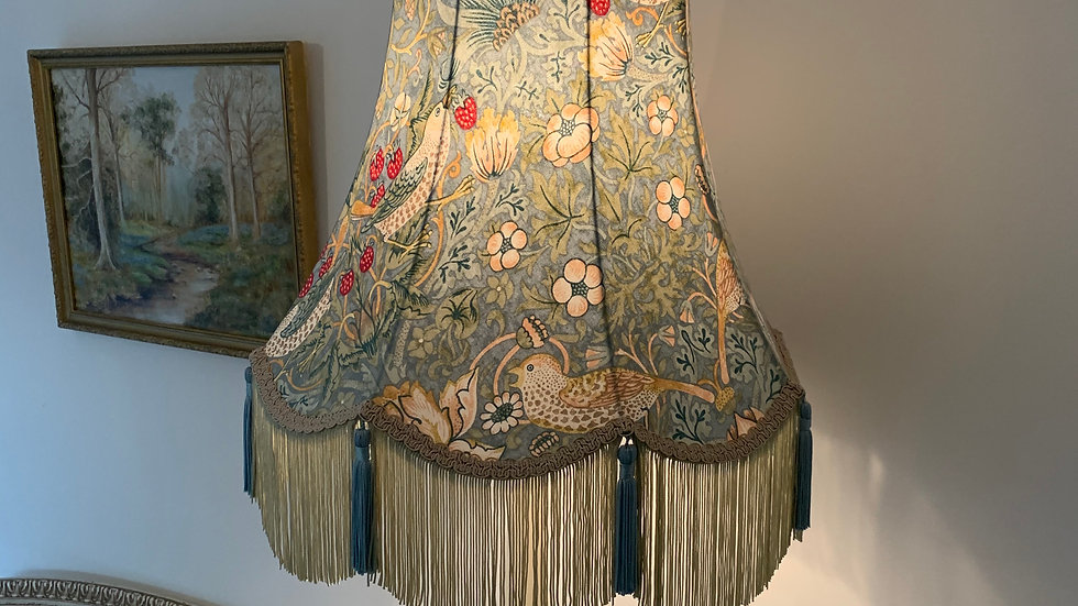 """William Morris 'Strawberry Thief' duck-egg blue large 18"""" fringed lampshade"""