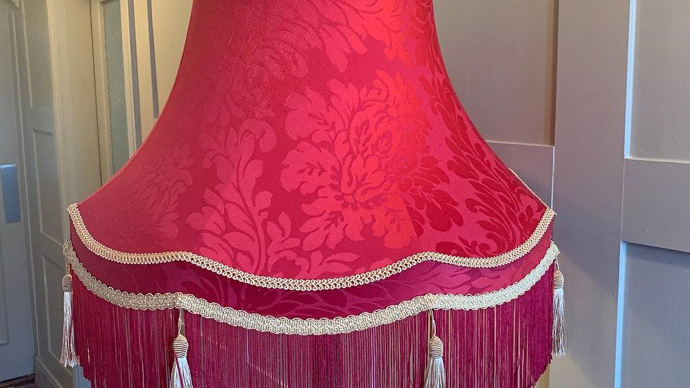 """Huge 22"""" Sanderson claret red damask/gold tassels fringed lampshade"""