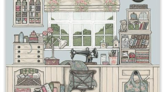 Sally Swannell  'The Sewing Room' greeting card