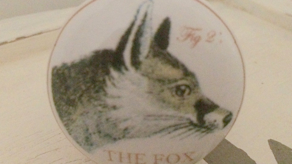 Amber-brown antique FOX illustration ceramic door drawer pull handle KN