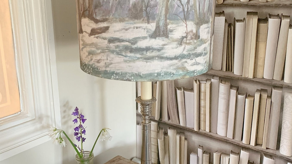 Spring woodland 'Snowdrop glade' linen 30cm drum lampshade ceiling/table lamp