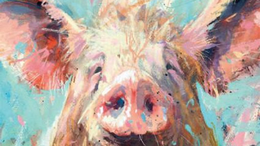 Cledus pig large greeting card
