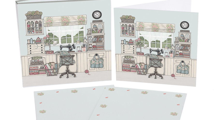 Sally Swannell  'The Sewing Room' notecard pack