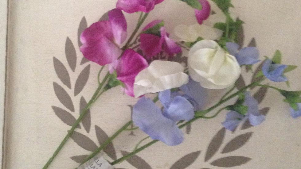 Set of 3 purple/mauve/white sweet pea peas flower stems