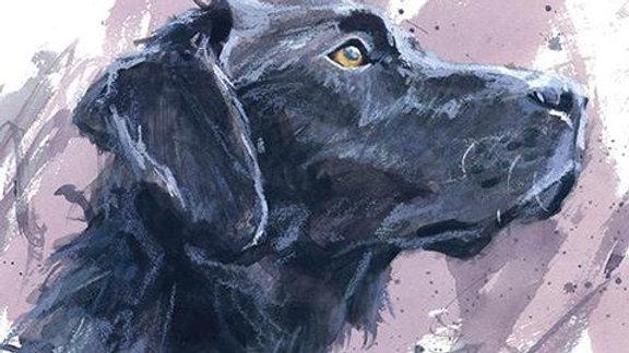 Black Labrador (2) large greeting card
