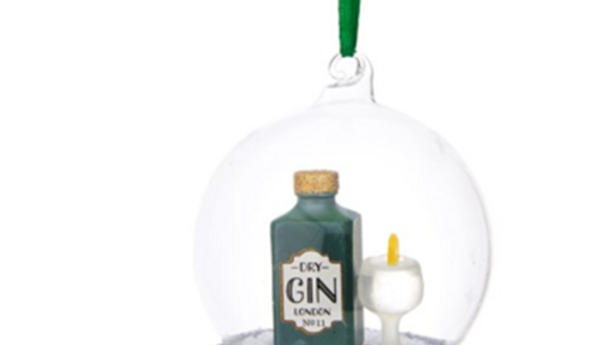Gin and Tonic glass dome bauble tree ornament