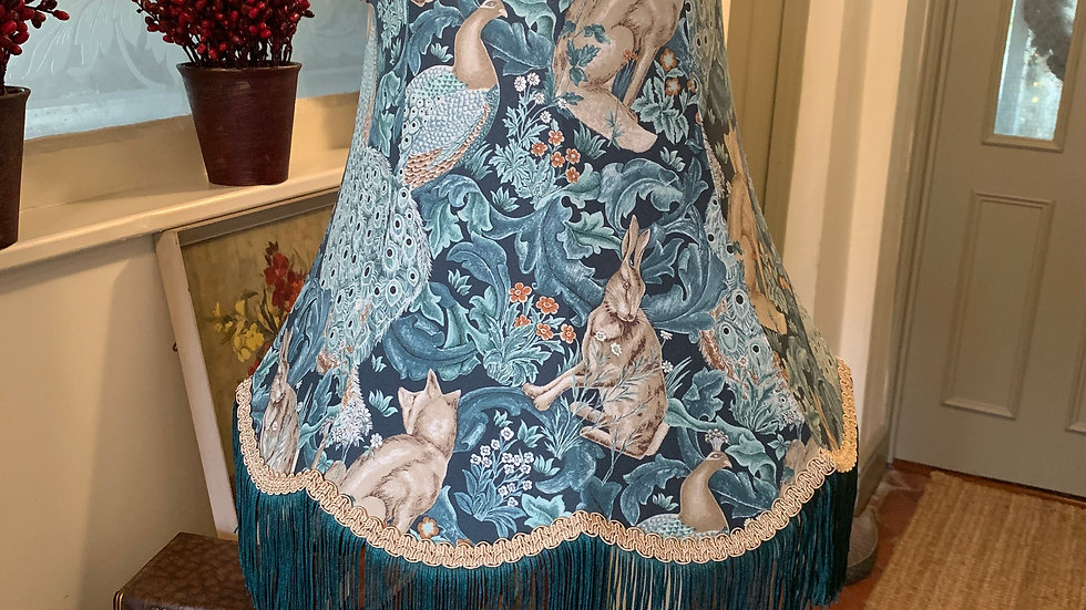 "William Morris Standen Forest teal fringed large 18"" fabric lampshade"
