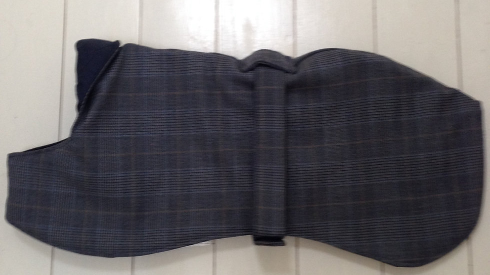 "Navy blue wool box check 19"" (small-medium) whippet coat"