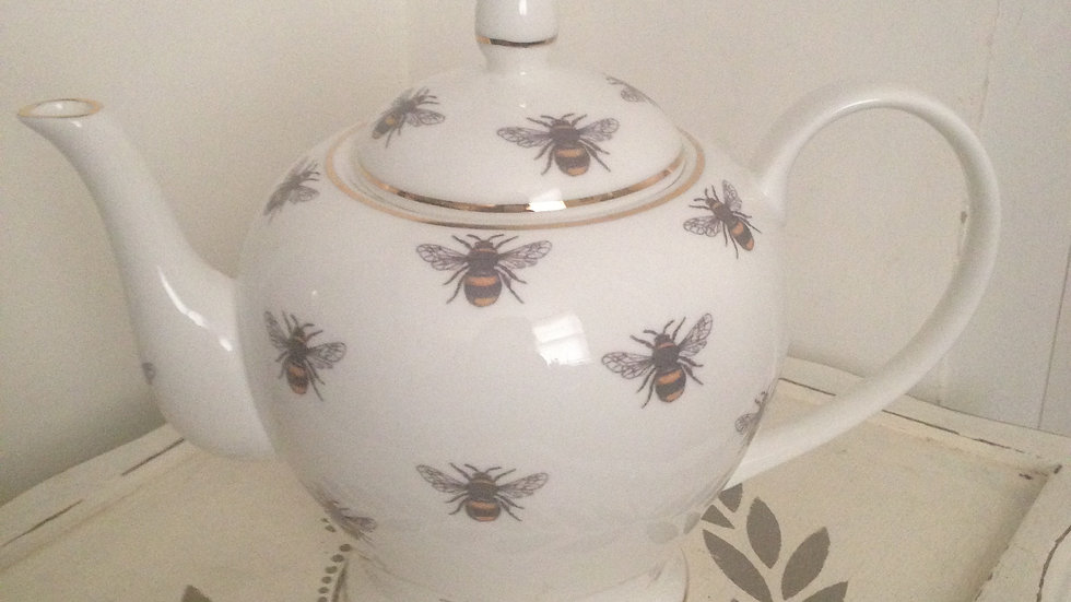 Bee design small 2-3 cup bone china teapot