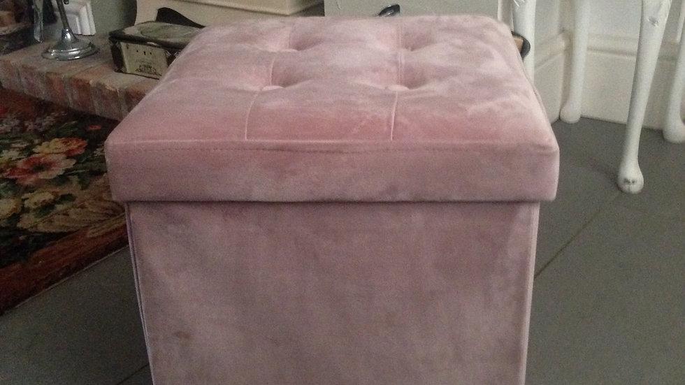 Brissi  'Victoria' dusky pink velvet box stool/ottoman/chair/footstool