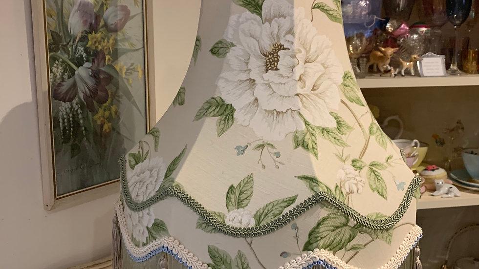 "Sanderson 'Peony Tree' linen/cream floral fringed 16"" lampshade"