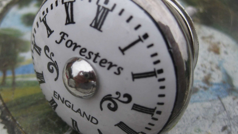 Antique/vintage style 'Foresters' CLOCK FACE silver/white ceramic door drawer KN