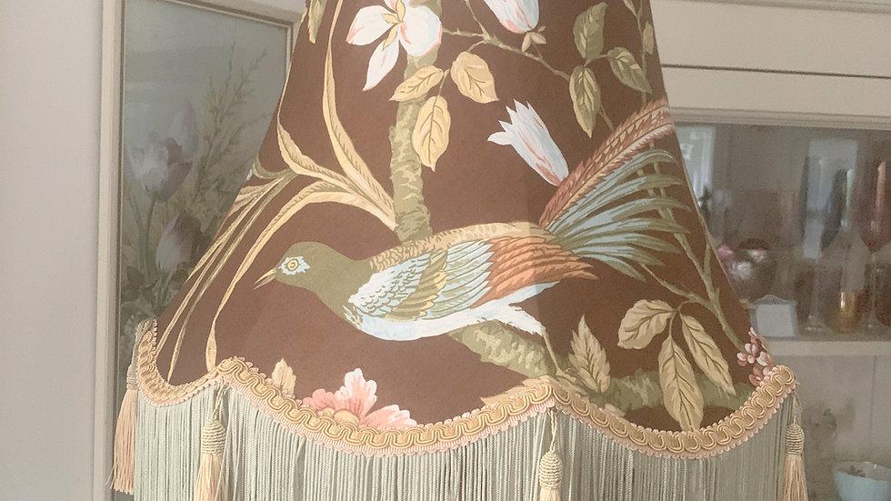 "Vintage Sanderson 'Bird & Peony' Victorian style fringed/tasseled 18"" lampshade"