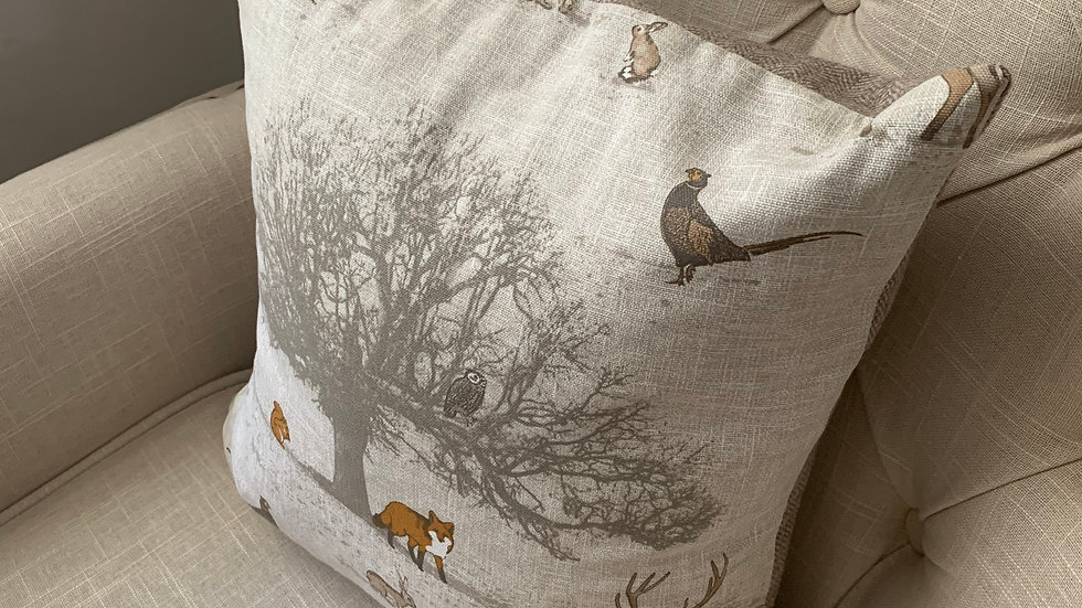"Country woodland fauna 16""cushion with plump feather pad"