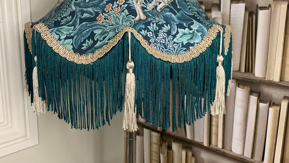 """William Morris Standen Forest teal fringed/ tassels 13"""" fabric lampshade hare"""