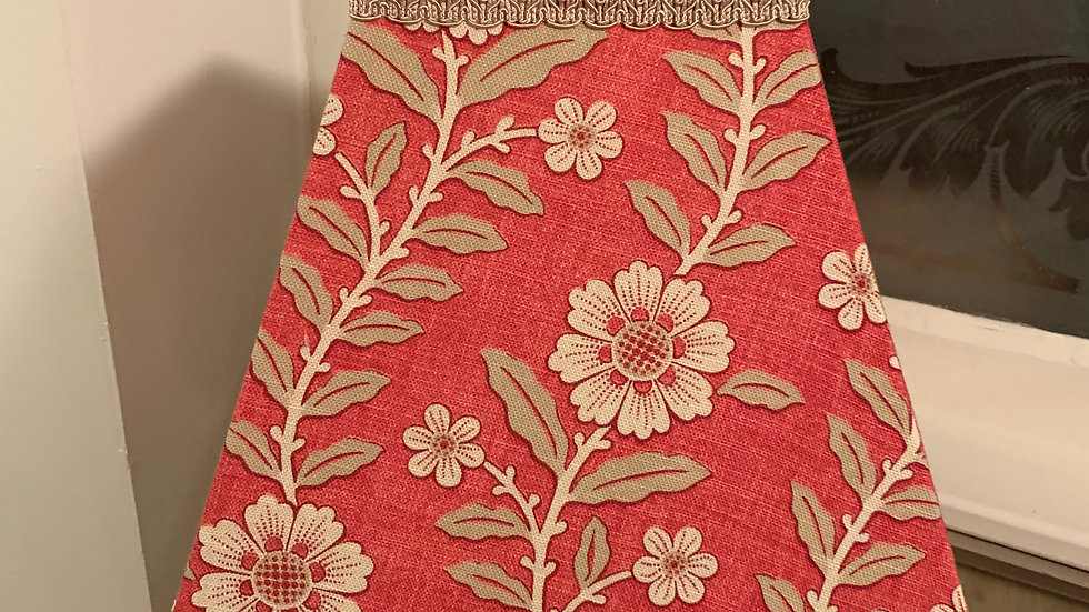 """Sanderson 'Fleurie' contemporary red/olive floral print 12"""" square lampshade"""