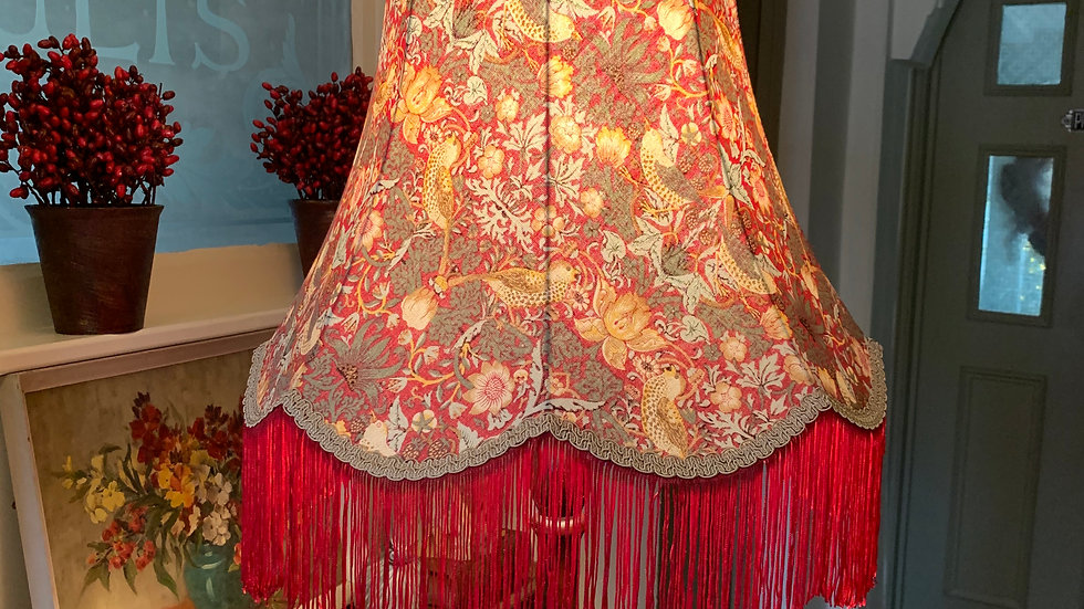 "William Morris 'Strawberry Thief' red large 18"" fringed lampshade"