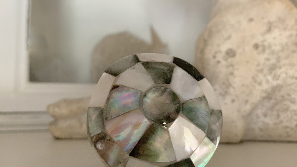 This is a beautiful Art Deco style furniture knob with mother-of-pearl/shell p