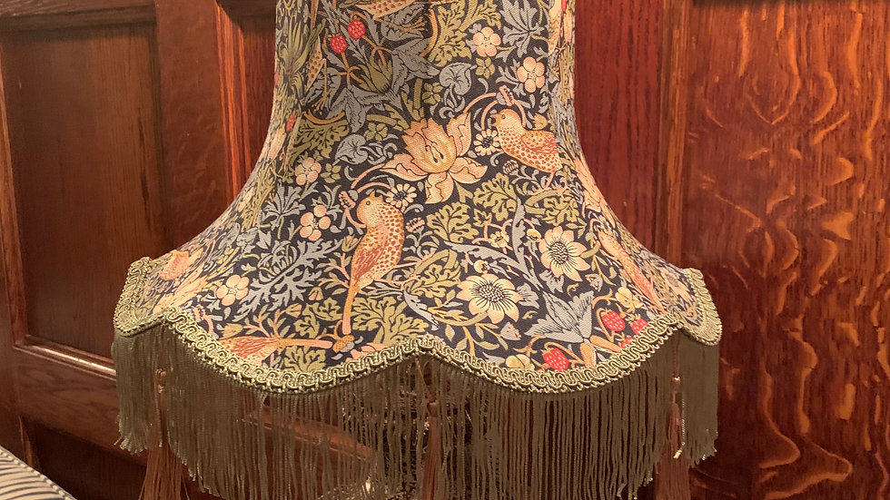 """William Morris 'Strawberry Thief' navy blue 15"""" fringed lampshade for table lamp"""