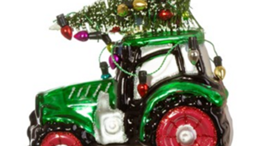 Large glass tractor & tree shaped bauble tree ornament